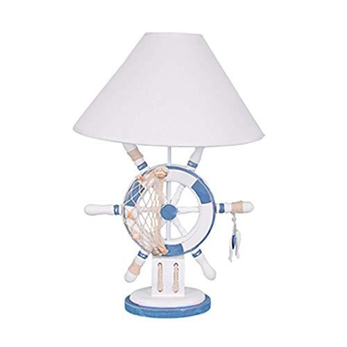 LHQ-HQ Sencillos y creativos clásicos Azul y Blanco de la lámpara de Madera de dirección del timón Mesa de la Rueda niños de la lámpara de cabecera
