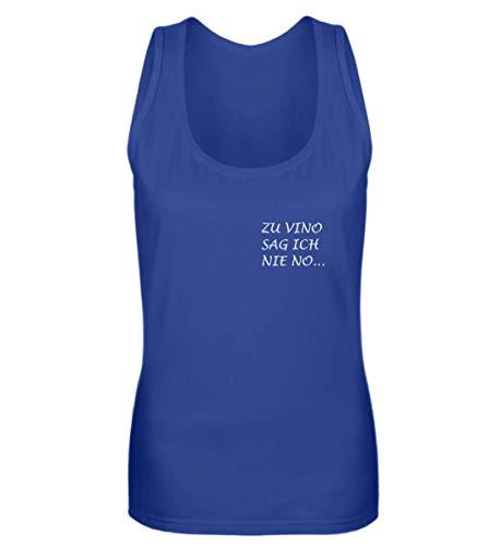 OneCode Camiseta de tirantes para mujer, diseño con texto en alemán 'Zu Vino Sag Ich Nie No' azul real L