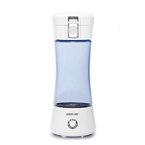 KINGDOMCARES Portable Hydrogen Water Bottle Cup Recharge Hydrogen Rich Water Ionizer Maker Generator Large Capacity Battery Colorful Light Healthy Water Purifier Filter Treatment Blue