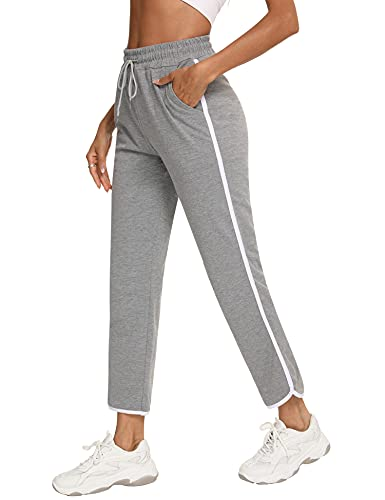 Sykooria Pantaloni Sportivi Donna in Cotone Pantaloni da Tuta Donna Jogging Fitness con Coulisse e Tasche