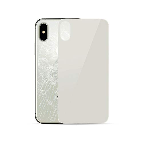 HKCB Back Glass Cover Replacement, Best OEM Rear Housing Battery Back Door Glass Cover Compatible with iPhone Xs 5.8 inch All Models, No Logo (Silver)