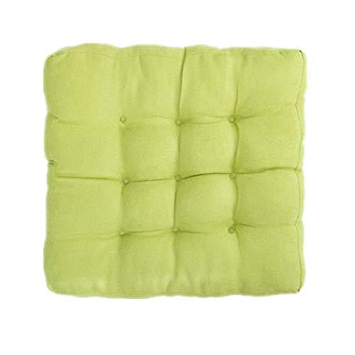 EXQULEG Juego de 1 cojín cuadrado para silla, 55 x 55 x 13 cm, algodón y lino, cojín de asiento, cojín de tatami para jardín, balcón, terraza (verde)
