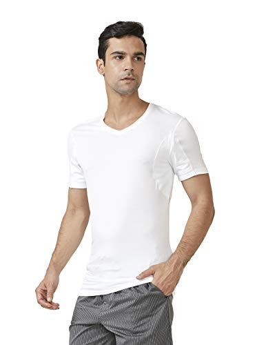DAVID ARCHY 2 Pack Sweat Proof Undershirt for Men Soft Bamboo Rayon V-Neck Armpit Odor Defense T-Shirt Short Sleeve Tee (L,White)