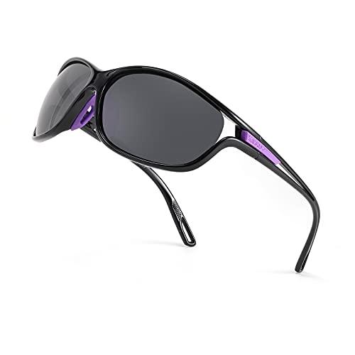 Karsaer Gafas de sol polarizadas deportivas para mujeres hombres conducción sombras ciclismo running k7082, gris,