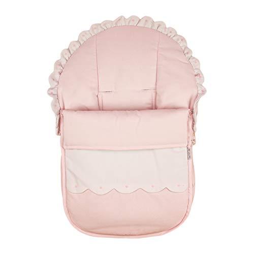 Funda + Saco Universal para Silla de coche GRUPO 0 Rosy Fuentes - Saco para Silla de Bebé Grupo 0 - Equipado para ser Ajustado perfectamente - Elaborado en Piqué - Color rosa