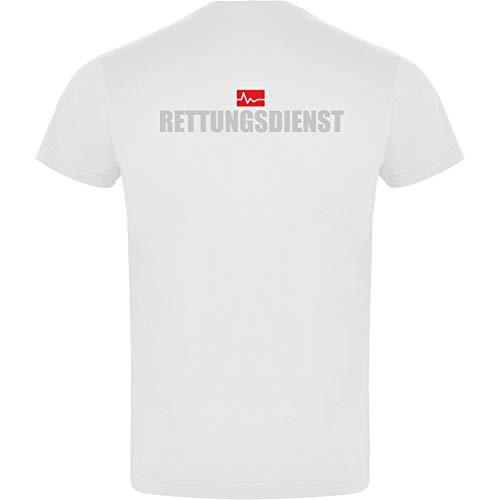 Rettungsdienst Herren Men's T-Shirt Licht-reflektierende Folie Aufdruck L24 Weiß White (L)