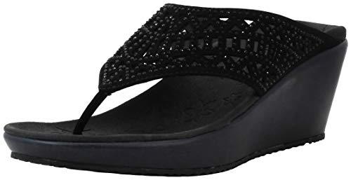 Skechers Women s Thong Wedge Black Black Sandal 8 M US
