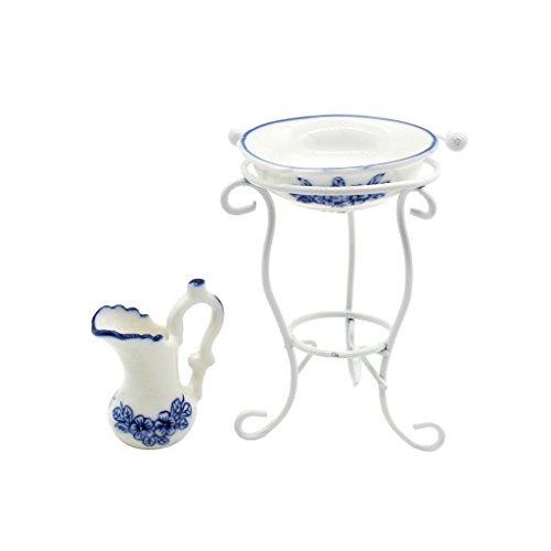 Gazechimp Miniatur Wassertopf Waschbecken Rack Puppenmöbel Set, perfekt für 1/12 Puppenhaus Badezimmer Deko