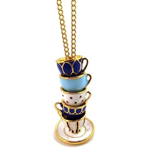 Qyvuor Taza de té Elegante con un Collar Colgante. Pintó a Mano un Collar de cáscara