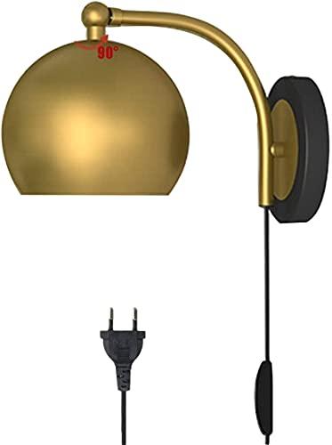 Lámpara de Mesa Personalizada, Lámpara de Pared de Metal con Interruptor y Cable de Alimentación de 150Cm, Aplique de Pared Industrial Ajustable para Dormitorio, con Bombilla de