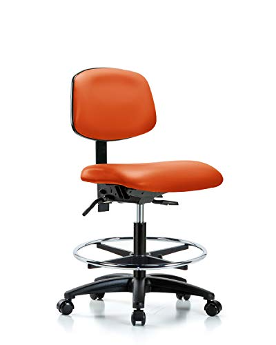 Ergonomic Chair for Medical Offices, Labs, and Dentists with Wheels - Bench Height, Orange
