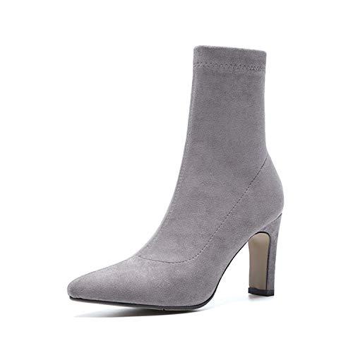 Shukun enkellaarsjes laarzen Women'S herfst en winter stretch laarzen dunne laarzen puntige hoge hakken kaal laarzen dik met sokken laarzen Martin laarzen