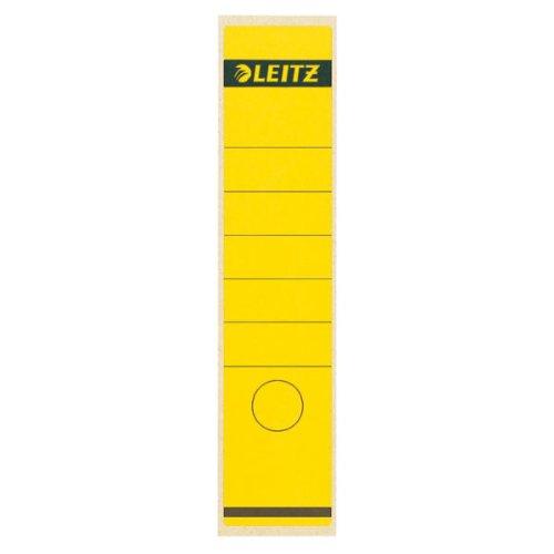 Leitz Rückenschild selbstklebend für Standard- und Hartpappe-Ordner, 10 Stück, 80 mm Rückenbreite, Langes und breites Format, 62 x 285 mm, Papier, gelb, 16400015