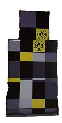 Borussia Dortmund BVB 09 Bettwäsche, 1 x Kissenbezug 80 x 80 cm und 1 x Bettbezug 135 x 200 cm, 100% Baumwolle mit Knopfleiste