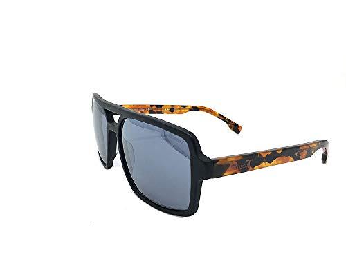 RossoT, Gafas de sol. Lentes de espejo,montura negro opaco y patillas color habana brillante. Con etiqueta descriptiva personalizable. Producto artesanal, Made in Italy