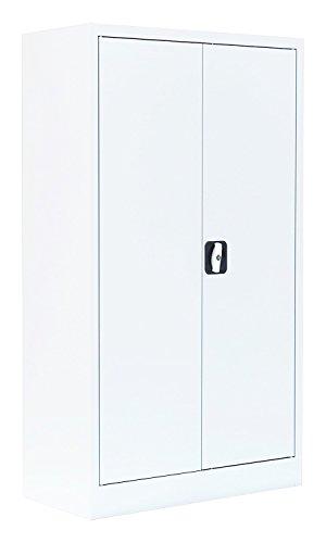 Flügeltürenschrank Schrank Stahl Stahlblech Lagerschrank Aktenschrank 2 Fachböden 530327 Signalweiß 1200 x 920 x 420 mm kompl. montiert und verschweißt