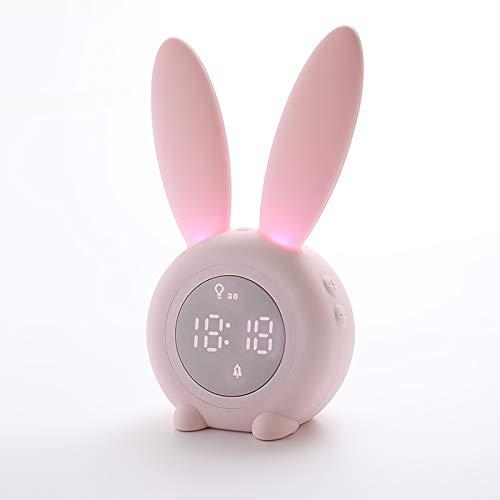 Sveglia sveglia del coniglio Lampada da tavolo creativa da tavolo Lampada da comodino, funzione Snooze, 6 suoni forti, luce notturna temporizzata ideale per bambini, ragazze, neonati, camerette (rosa)