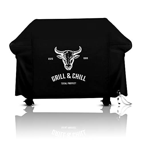 Grill & Chill -Premium- Abdeckhaube, BBQ Grillabdeckung Wasserdicht Abdeckplane Haube Schutzhülle für Weber, Brinkmann, Char Broil, Holland und Jenn Air Gasgrill 600D Oxford-Gewebe (147x61x122cm)