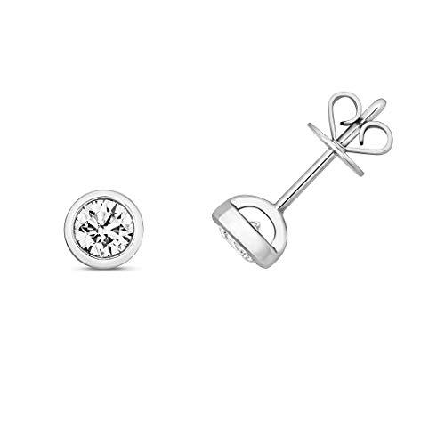 Original 18ct Oro Blanco Diamante Rubover Pendientes de Presión de Marca Nuevo