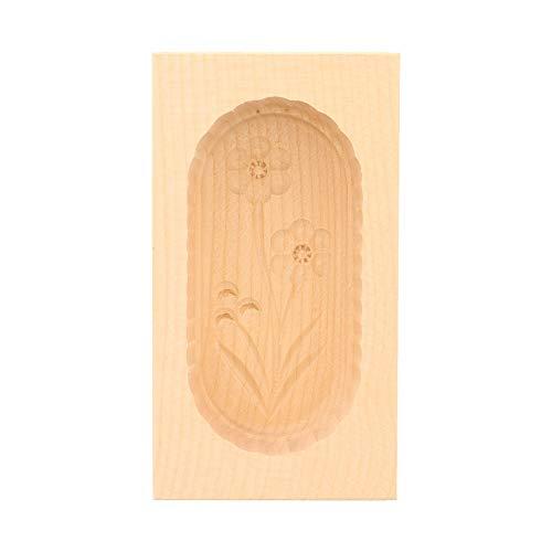 HOFMEISTER® Butterform, für 125 g Butter, 14 cm, Blume E, handgefertigt in Deutschland, Butter-Form zum Dekorieren, eckige Sturz-Form, Butter-Model aus heimischem Ahorn-Holz