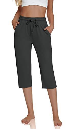 UEU Women's Comfy High Waisted Yoga Capri Pants Loose Workout Sweatpants Wide Leg Lounge Pants with Pockets(Darkgray,M)