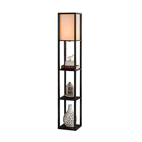 Peaceip Chinesische holzstehlampe wohnzimmer schlafzimmer vertikale tischlampe haus teelichter (Farbe : Schwarz)