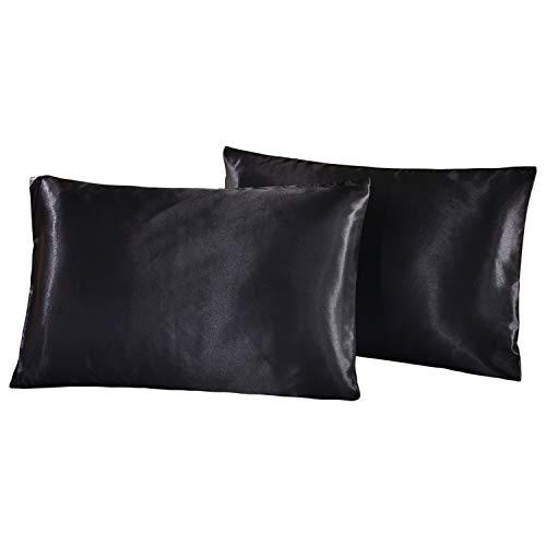 HONGCI - Set di 2 federe in raso per capelli e pelle, morbide e anti rughe e antimacchia, con chiusura a busta standard (nero, 50 x 75 cm)