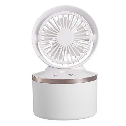 KingbeefLIU Mini ventilador ultra silencioso con 3 velocidades de viento, diseño de humidificación, ligero, mini ventilador de pulverización, color blanco universal