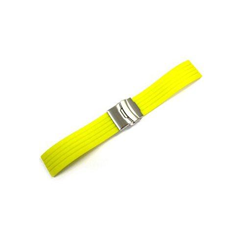 WCC Correa de caucho con cierre desplegable de seguridad, pasador de 24 mm, para relojes Seiko & Orient.