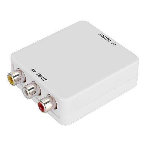 Surebuy Convertidor de Video, convertidor de señal Mini AV a RF, bajo Consumo de energía, conmutador de señal Blanca con Cable USB y línea de conexión para TV, VHS, videograbadora, Quemador de DVD