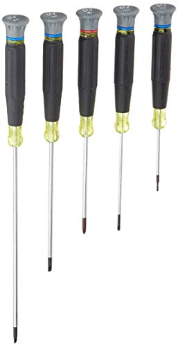 Klein Tools 85614 Precision Screwdriver Set, Electronics Slotted and Phillips Screwdrivers with Rotating Caps and Color-Coded Rings, 5-Piece