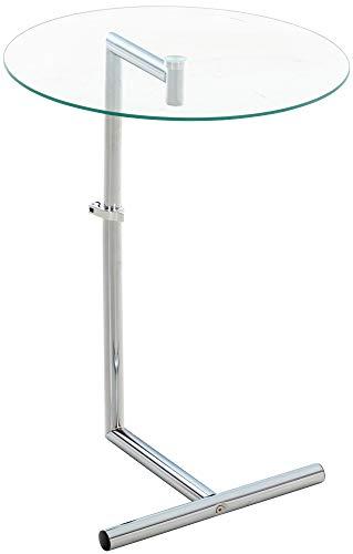 CLP Mesa de cristal con tablero redondo de cristal de seguridad, con...