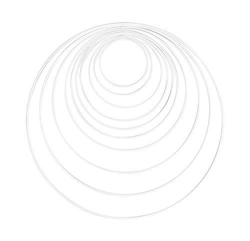 Rayher 25213102 Metallringe, 10 Stück, 10 Größen sortiert, weiß beschichtet, Stärke ca. 3 mm, Drahtringe zum Basteln, für Wickeltechnik, Traumfänger, Floristik, Hochzeitskranz, Hoops