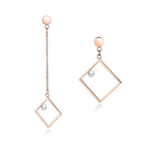 Pendientes colgantes y colgantes para mujer, joyería de moda irregular geométrica pendientes de acero inoxidable chapado en oro rosa
