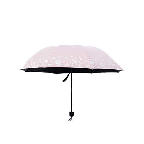 DZNOY Paraguas Plegables Discolor de Agua Impresión Protección Sol Sol Ultravioleta Protección Sombrilla Paraguas Pequeña Lluvia Fresca y Sol Dual Propósito sombrilla (Color : Pink)