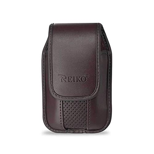 Brown Leather Case with Pinch Clip for ZTE z432 Phone