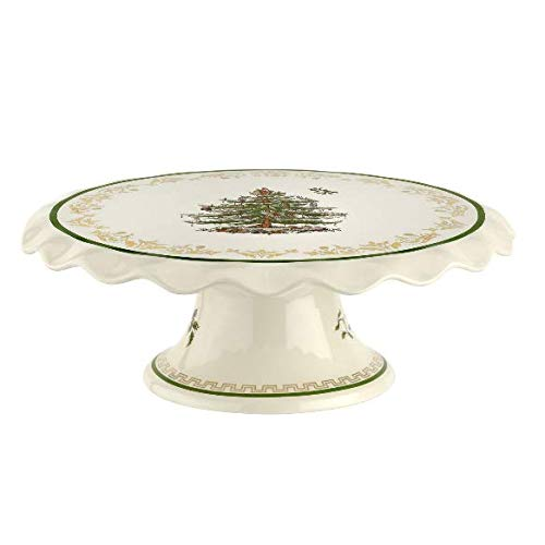 Spode Christmas Tree Gold Cake Stand (11in)- Stoneware (22 Carrat Gold)