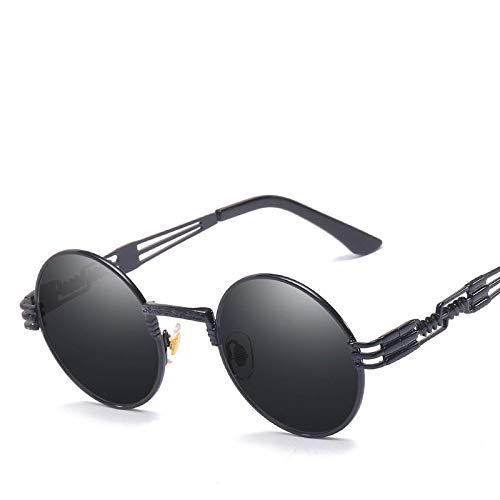 Moda Gafas De Sol Steampunk Hombre, Diseño De Marca, Gafas Redondas con Revestimiento De Vidrio para Sol, Metal, Vintage, Retro, para Hombre, Negro, Gris