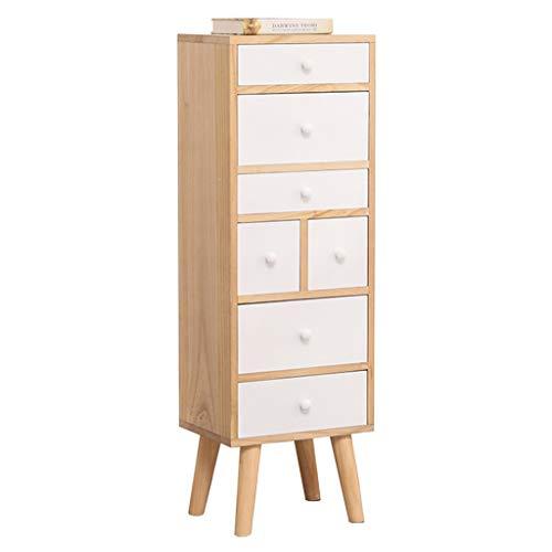 WANGYONG Gabinete con cajones de Madera Maciza, Multifuncional, pequeño, Estrecho, Mini gabinete de Almacenamiento, Sala de Estar, Siete cajones, 32x25x106 cm CTGUI (Color : White)