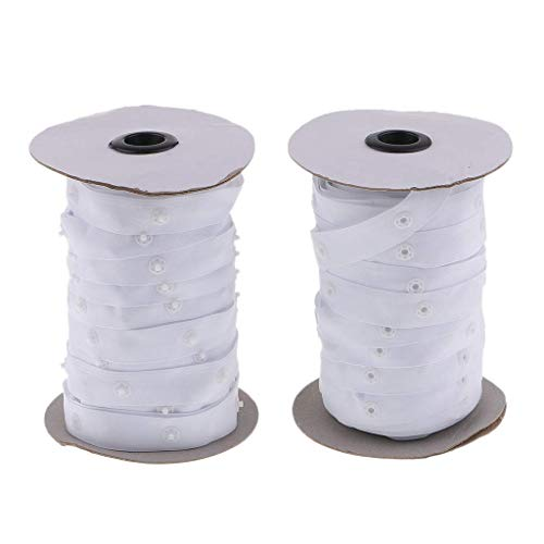 2 Rolls Sewing Snap Fastener Tape Snap Polyester Ribbon Fasteners for Sewing - White