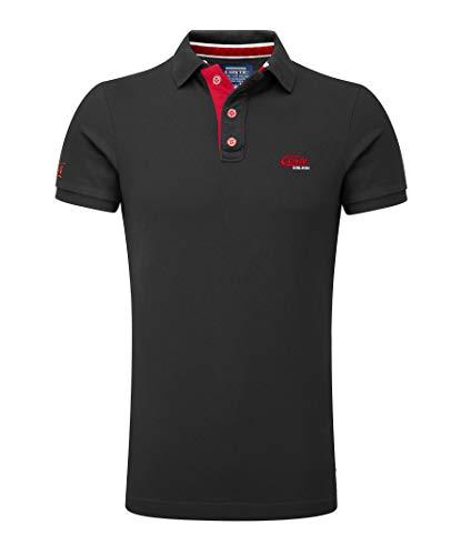 M.Conte Herren Poloshirt Basic Men's Kurzarm Polohemd T-Shirt Polo-Shirt Pique- Gr. XL, Schwarz-Black