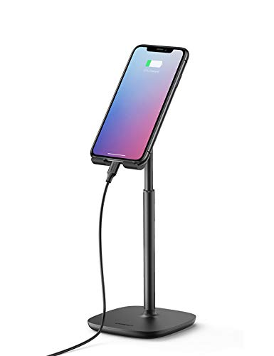 UGREEN Cell Phone Stand Height Adjustable Desk Phone Holder Compatible for iPhone 12 Pro Max 11 SE XS XR 8 Plus 6 7 Samsung Galaxy Note20 S20 S10 S9 S8 Note 10 9 8 S7 S6 Google Pixel 4 XL Black