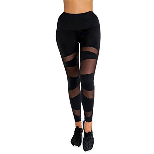 Yogogo Damen Yoga Leggings Hose Hohe Taille Pants | Dünne Hosen | Mesh Muster Print Leggings | Sport Fitness Workout Leggins | Elastische...
