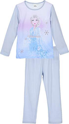 Disney Eiskönigin Schlafanzug Pyjama Langarm Mädchen (Blau 2, 128)