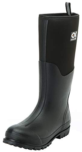 Duck and Fish 16 inches Fishing Hunting Neoprene High Rubber Overlay Molded Outsole Knee Boot (12 Men, Black)