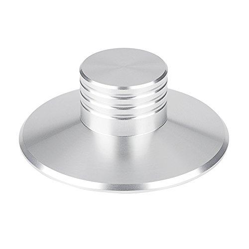 Vbestlife Abrazadera del Estabilizador de Registro del Disco de La Placa Giratoria Tocadiscos de Vinilo LP Estabilizador de Disco de Metal Peso de Registro (Silver)
