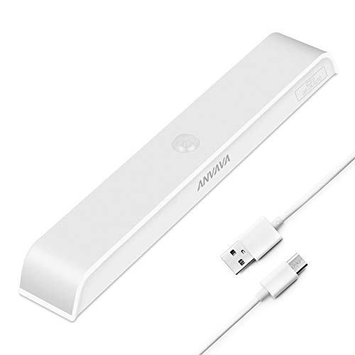 Under Cabinet Lighting, ANVAVA 30 LED Closet Light Rechargeable Wireless Motion Sensor Closet Lights Warm White Night Light Magnetic Stick to Anywhere Counter, Wardrobe, Hallway, Stairs