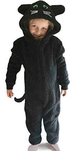 Onesie Onesie Peluche en polaire Motif singe licorne pour enfants de 2 à 16 ans - Noir - 2-3 ans