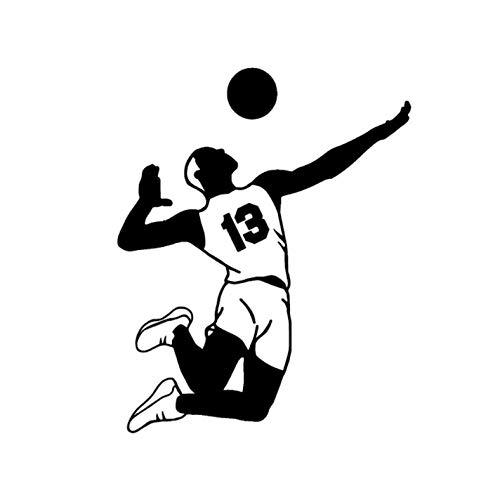 Empty 3 Stück Auto Aufkleber und Abziehbilder 13 * 16.1CM Volleyball Player Wasserdicht Selbstklebend für Laptop Skateboard Gitarre Moto Car Bike DIY Party Patches Abziehbild-Schwarz