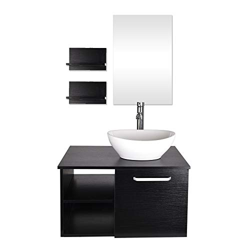 28-Inch Bathroom Vanity, Modern Lavatory Wall Mounted Wood Cabinet, with Mirror, Wood Black Fixture, Oval Ceramic Porcelain Sink Top with Single Faucet Hole